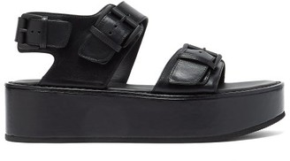 Ann Demeulemeester Buckled Patent-leather Flatform Sandals - Womens - Black