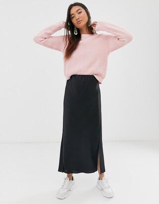 Asos Design DESIGN bias cut satin midi skirt with splits-Black