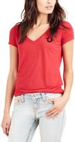 True Religion Women's Tee Shirts RUBY - Ruby Red Classic Logo Deep V-Neck Tee - Women & Juniors