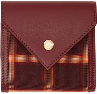 Burberry Lila Envelop Tartan Technical Cotton & Leather Trifold Card Case