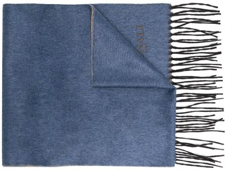 Canali Embroidered Logo Knitted Scarf
