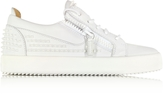 Giuseppe Zanotti White Studded Leather Low Top Sneakers