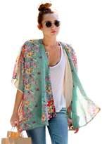BB&KK Women Bikini Beach Suit Blouse Plus Size Loose Floral Printed Chiffon Tops XL