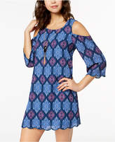 As U Wish Juniors' Printed Cold-Shoulder Shift Dress with Necklace