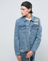 Asos Denim Jacket With Back Print In Mid Wash