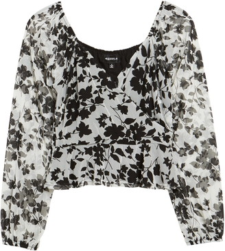 4SI3NNA the Label Floral Print Crop Peplum Top