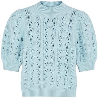 Alice + Olivia Kyoko Light Blue Pointelle-knit Jumper