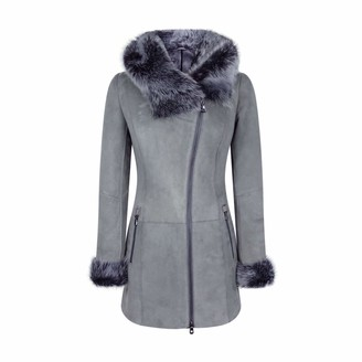 Infinity Grey Ladies Long Suede Real Toscana Sheepskin Coat Zipped Hood Tailored Fit