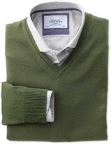 Olive Merino Wool V-neck Jumper Size Xl By Charles Tyrwhitt