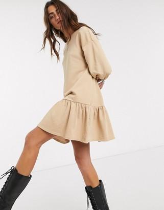 Bershka jersey smock dress in camel