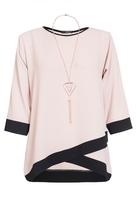 Quiz Curve Nude Contrast 3/4 Sleeve Necklace Top