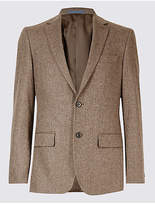 M&s Collection Luxury Pure Lambswool Wool Herringbone Jacket