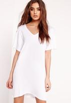 Missguided Wide V-Neck T-Shirt Dress White