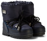 Dolce & Gabbana Navy Snow Boots with Branded Plaque