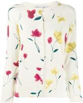 Oscar de la Renta floral print knitted cardigan