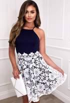 Pink Boutique Runaway Lover Navy Crochet Skater Dress
