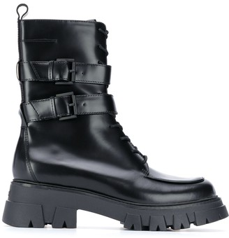 Ash Buckle Detail Combat-Boots