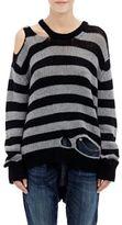 R 13 Women's Distressed Striped Sweater-BLACK