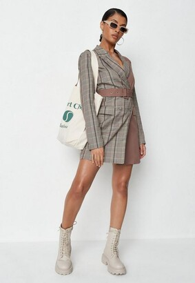 Missguided Brown Plaid Two Tone Belted Blazer Dress