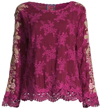 Johnny Was Paulina Embroidered Tonal Blouse