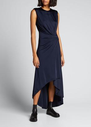 Monse Gathered Jersey Power-Shoulder Dress