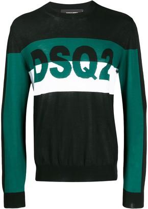 DSQUARED2 DSQ2 intarsia colour block sweatshirt