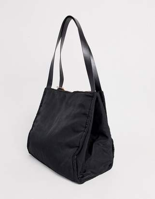 Asos Design DESIGN lightweight shopper bag with double compartments-Black