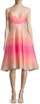 Badgley Mischka Sleeveless Striped-Ombre Dress, Fuchsia/Multi