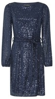 Dorothy Perkins Womens Blue Sequin Belted Fit And Flare Dress, Blue