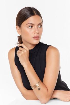 Nasty Gal Womens Back On Lock Pendant Layered Bracelet - metallics - One Size