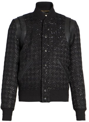 Saint Laurent Houndstooth Teddy Jacket