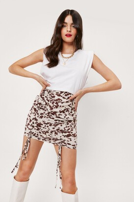 Nasty Gal Womens Cow Did This Happen Ruched Mini Skirt - White