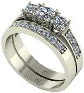 Moissanite Premier Collection 9ct Gold 1ct total Trilogy bridal set