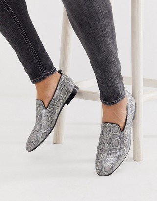 H By Hudson Bolton snake loafers in grey