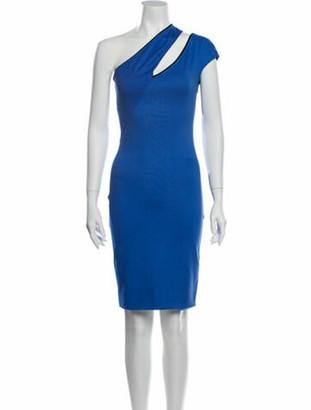 Thierry Mugler One-Shoulder Knee-Length Dress Blue