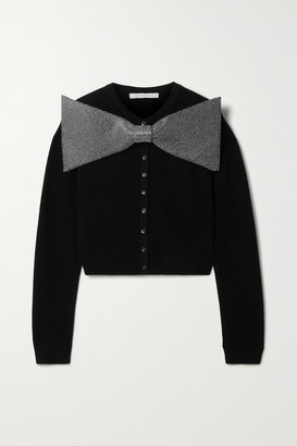 Christopher Kane Cropped Crystal-embellished Merino Wool And Cashmere-blend Cardigan - Black