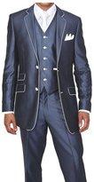 MYS Men's Custom Made Slim Fit Wool Feel Two Button Tuxedo Suit Pants Vest Set Size 44R