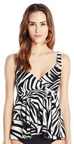 Fit 4 U Women's Figure Magic Tiger Lily 3-Tier Ruffle Tankini