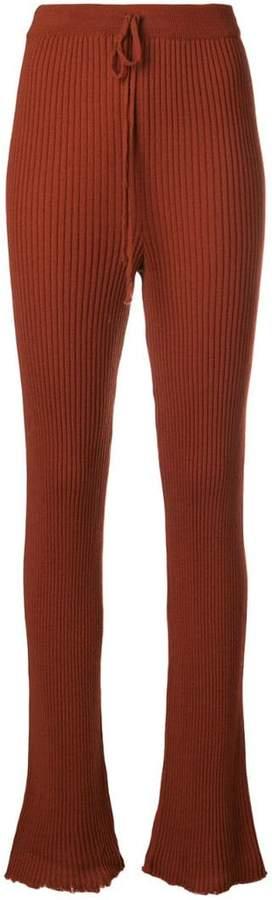 Marques Almeida Marques'Almeida high waist rib knit trousers