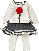 Rare Editions Baby Girls 3-24 Months Flower-Appliqued Top and Skeggings Set