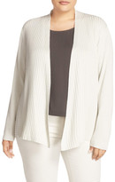 Eileen Fisher Ribbed Silk Blend Cardigan (Plus Size)
