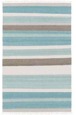 Beachcrest Home Garcon Point Handwoven Flatweave Wool Aqua/Charcoal Area Rug
