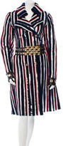 Roberto Cavalli Striped Sheared Fur Trench