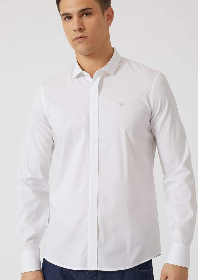 Emporio Armani Shirt In Comfortable Poplin With Embroidered Logo On The Front