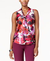 Kasper Printed Tie-Neck Blouse