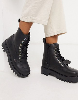 Kickers Kizziie cleated ankle boots in black