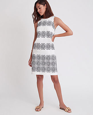 Ann Taylor Tile Embroidered Shift Dress