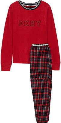 DKNY Embroidered Checked Fleece Pajama Set