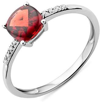 Miore Ladies 9kt White Gold Diamond and Garnet Engagement Ring - Size P MKW9051R6