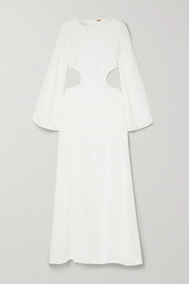 Cult Gaia Kamira Open-back Cotton And Linen-blend Maxi Dress - White